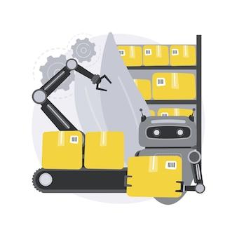 倉庫のロボット化。倉庫ロボット工学、自動運転フォークリフト、自動移動ロボット、商品保管、小包の仕分け。