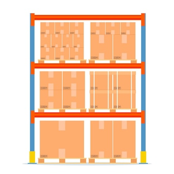Warehouse shelves with boxes. storage equipment icon.