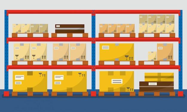 Складские полки с коробками