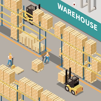 Warehouse shelves with cardboard boxes forklift and two workers 3d isometric isolated vector illustration