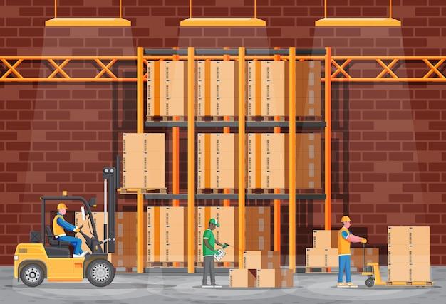 Складские полки с товарами, тележками и тарными ящиками. набор картонных коробок. картонная упаковка, открытая и закрытая коробка с хрупкими знаками. векторная иллюстрация в плоском стиле