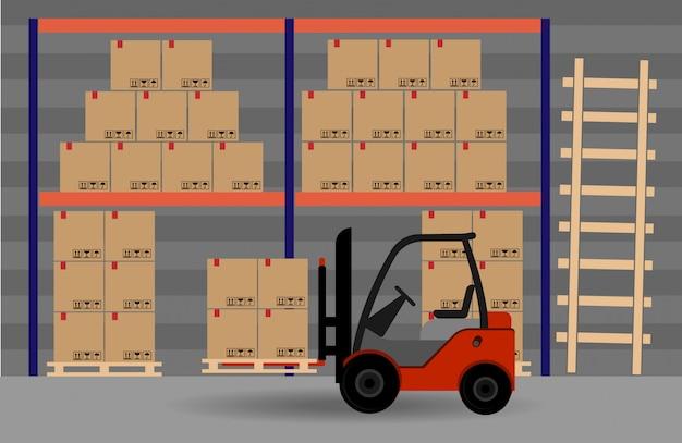倉庫スペース。ボックス付きフォークリフト。