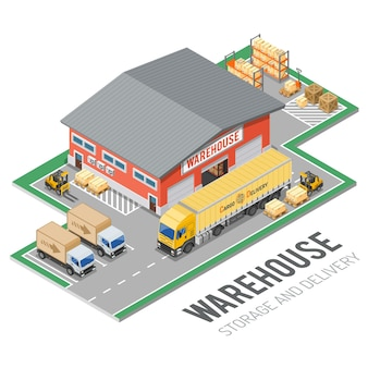 Warehouse, storage, logistics and delivery isometric concept with storehouse, truck, forklift icons. isolated vector illustration