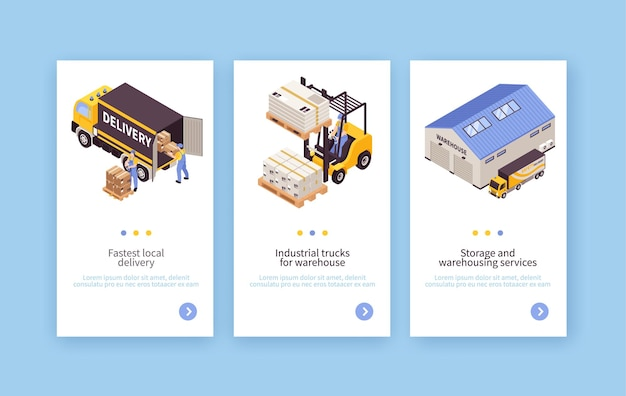 Warehouse storage pick pack delivery services equipment transportation vehicles vertical isometric banners set isolated