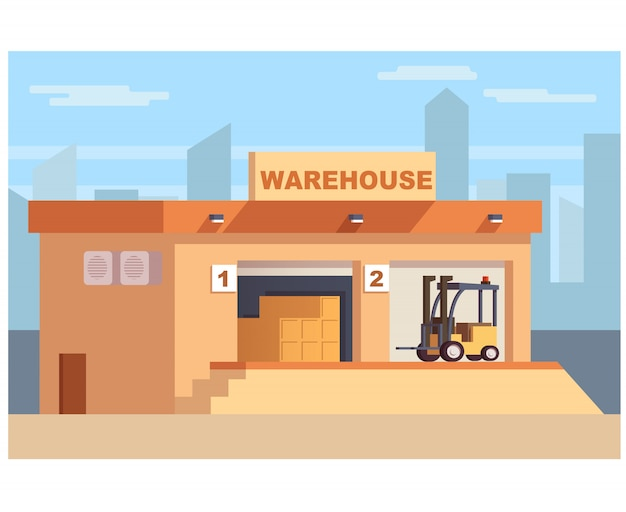 Warehouse storage with forklift truck