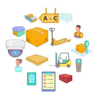 Warehouse store icon set, cartoon style