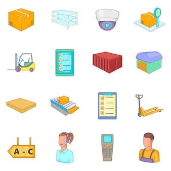 Warehouse store icons set