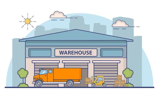 保管のために建物を倉庫に保管します。トラックとローダーのフォークリフトボックス。車体への貨物の積み込み。配送品に車輪が付いた車両。