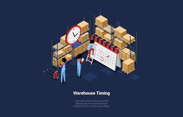 Warehouse timing illustration in cartoon 3d style