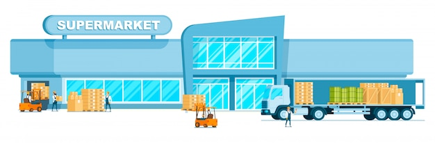 Warehouse truck unloading freight in supermarket