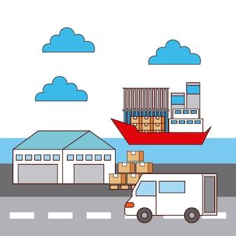 Warehouse van car and ship logistic transport