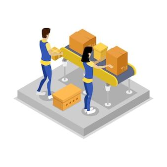 Warehouse with conveyor isometric 3d illustration