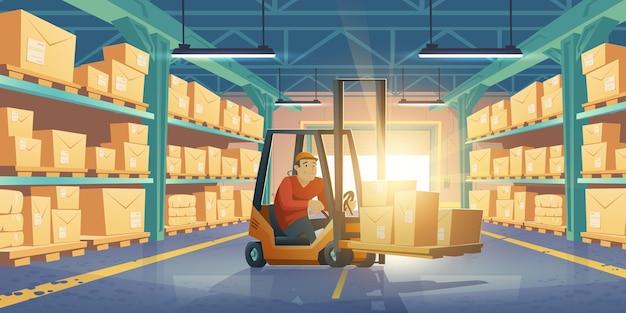 男性労働者のフォークリフトと箱のある倉庫