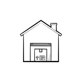 패키지 손으로 그린 개요 낙서 아이콘이 있는 창고. 저장, 물류, 운송, 상점, 부동산 개념