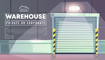 Warehouse with roller shutter door of logistics loader truck entrance.