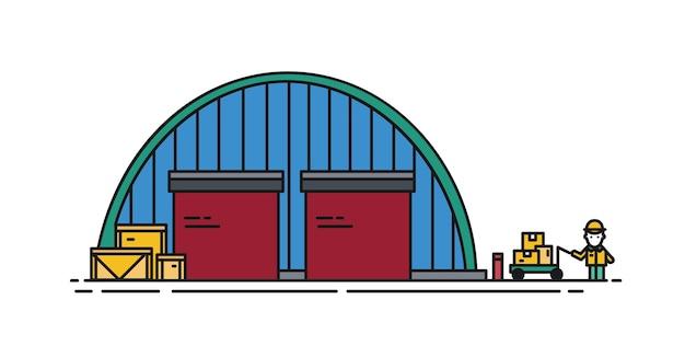 Склад с круглой крышей, рольставнями и рабочим с ручной тележкой. коммерческое здание для хранения товаров изолированное. современные векторные иллюстрации в стиле арт линии.