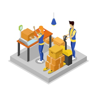 Warehouse with workers isometric 3d illustration