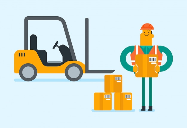 Warehouse worker on the background of forklift.