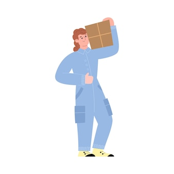 Warehouse worker carries cardboard box on his shoulder in vector illustration