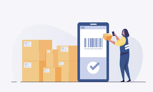 Warehouse worker scanning barcode on box with smartphone.