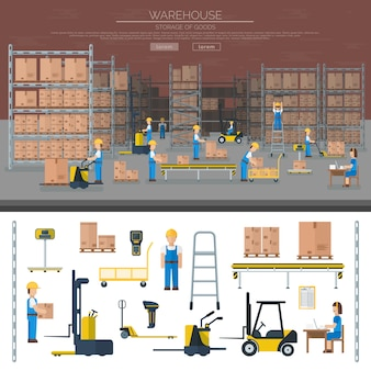 Warehouse worker taking package in shelf logistic industry flat