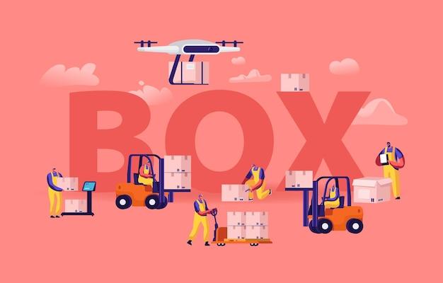 창고 노동자와 드론 로딩 박스 개념. 만화 평면 그림