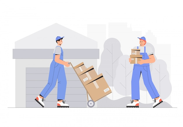 Warehouse workers characters unloading boxes. flat style vector illustration.
