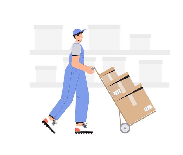 Персонажи складских рабочих разгружают ящики.