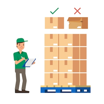 Warehouse workers checking stock inventory modern flat style vector illustration