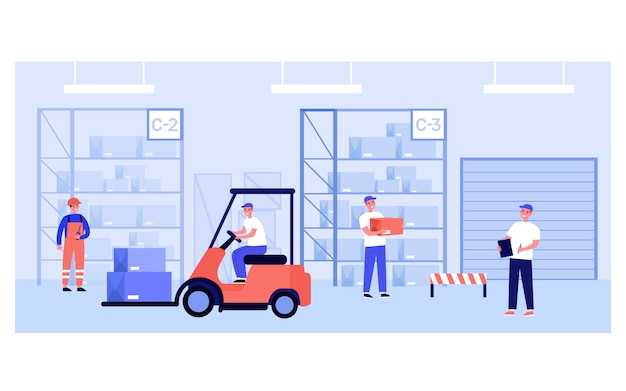 Warehouse workers and couriers carrying boxes