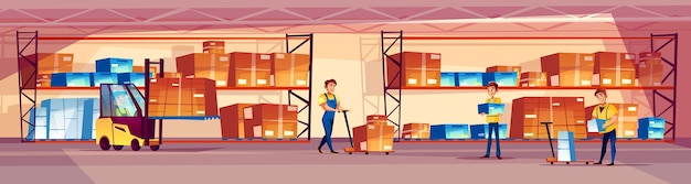 Warehouse workers illustration of logistics storage room with goods on shelf