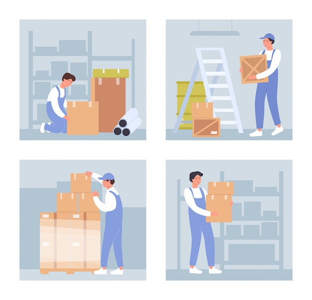 Warehouse workers  illustrations. cartoon  warehousing staff people holding boxes, stacking boxes and packages in pallet, working on packaging goods in wholesale storehouse  on white
