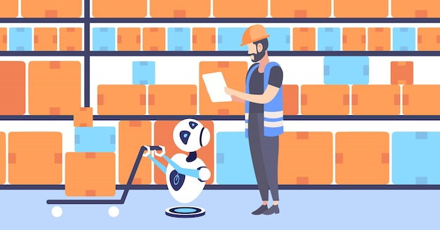 Warehouse workers man in uniform with cute courier robot pulling cardboard boxes on trolley hand truck artificial intelligence concept modern storage interior horizontal