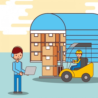 Warehouse workers operator and driver forklift with boxes
