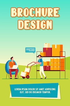 Warehouse workers using laptop and carrying boxes on wheelbarrow. box, parcel, cargo flat vector illustration