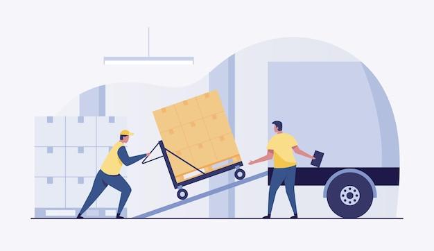 Warehouseman worker load boxes in a truck.