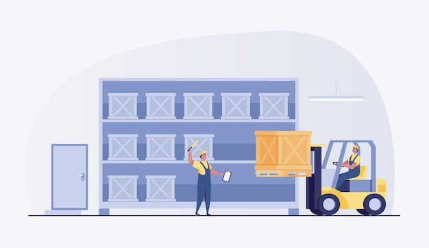 Warehouseman worker with a forklift.