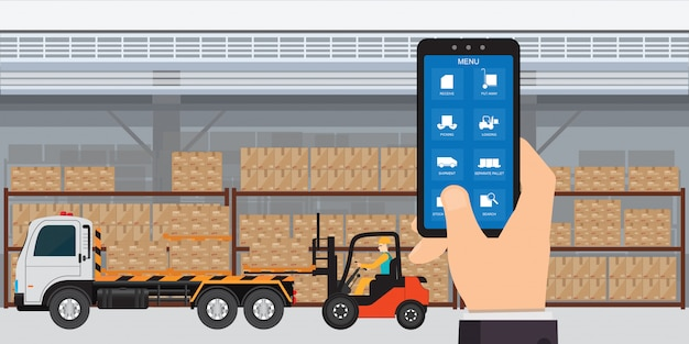 Warehousing and storage app on a smartphone with logistic.
