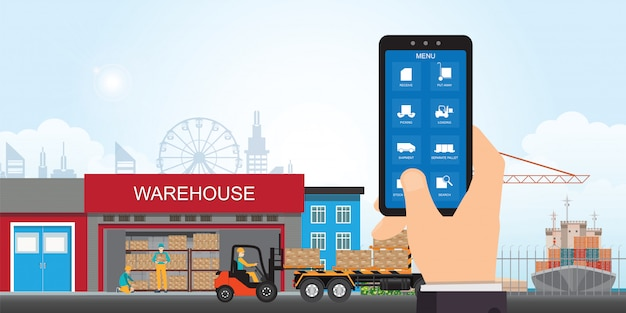 Warehousing and storage app on a smartphone with shipping icons.