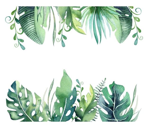 Waretcolor tropical border handdrawn palm leaves