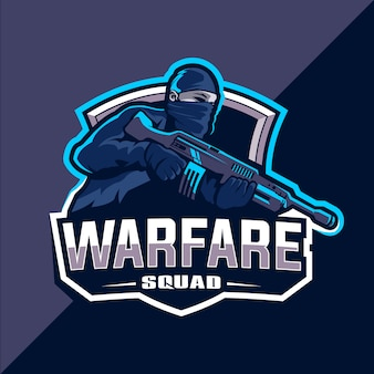 Warfare отряд киберспорт дизайн логотипа