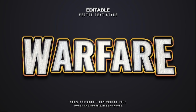 Warfare text style in white and gold with texture effect