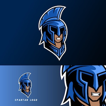 Синий спартанский warior талисман игровой спортивный кибер логотип шаблон с маской