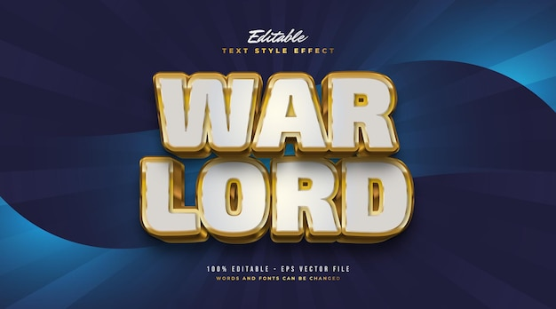 Warlord text in white and gold with 3d embossed effect. editable text style effect