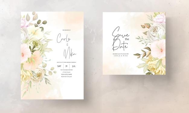 暖かい秋秋花の結婚式の招待カードテンプレート