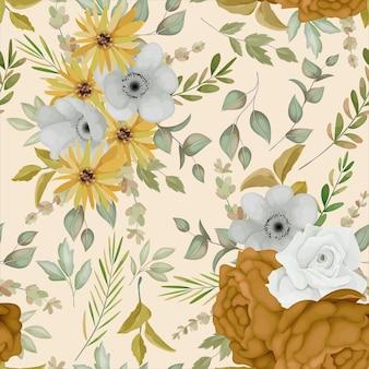 Теплый осенний цветочный узор бесшовные модели
