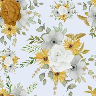 따뜻한 가을 꽃 원활한 패턴 디자인