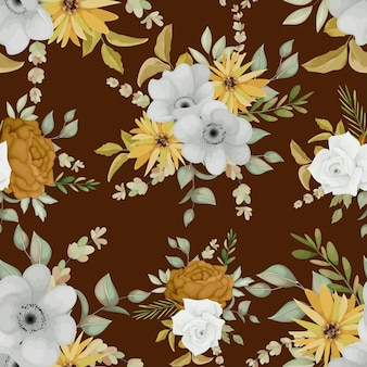 Warm autumn floral seamless pattern design