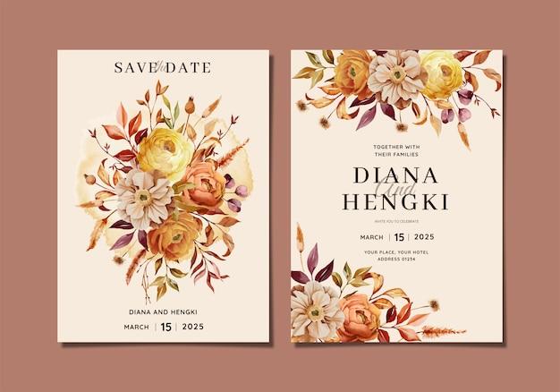 Warm autumn floral watercolor wedding invitation
