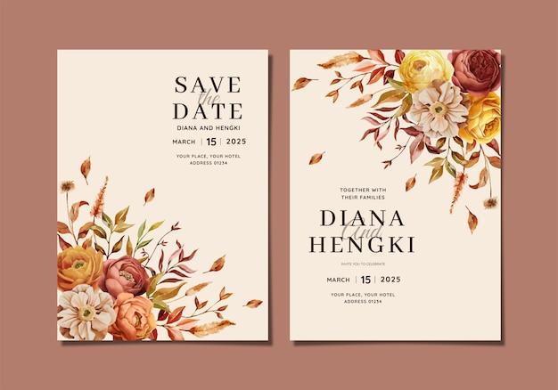 暖かい秋の花の結婚式の招待状